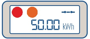 Luz naranja medidor energía prepago